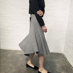 CHERJOE - Ribbed A-Line Midi Skirt