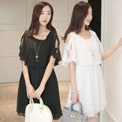 lilygirl - Mock Two-Piece Short-Sleeve Chiffon Dress