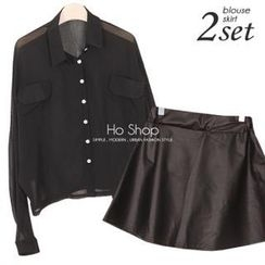 Ho Shop - Set: Dolman-Sleeve Cropped Blouse + Faux-Leather A-Line Skirt