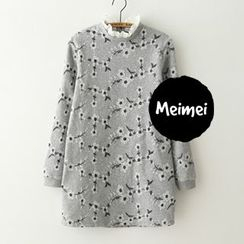 Meimei - Frill Collar Jacquard Knit Dress