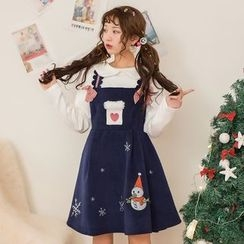 Moriville - Snowman Embroidered Pinafore Dress