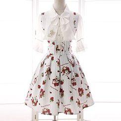 Reine - Strawberry Print Striped High Waist A-Line Suspender Skirt