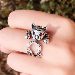 Pansy - Sterling Silver Cat Open Ring