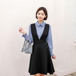 Seoul Fashion - Deep V-Neck Belted Jumper Dress