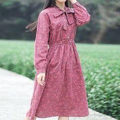 tete - 長袖領結帶花花連衣裙