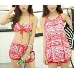 Jumei - Set: Print Bikini + Swim Shorts + Cover-Up