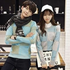 Je T'aime - Couple Matching Check Sweater