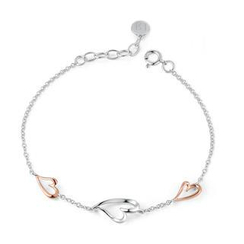 MBLife.com - Left Right Accessory - 9K/375 Rose and White Gold Heart Bracelet 6.5'