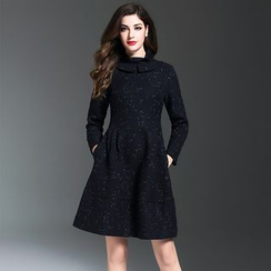 Y:Q - High Neck Wool Blend A-Line Dress
