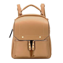 BeiBaoBao - Faux Leather Zip Backpack