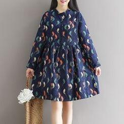 Queen Bee - 小鳥印花燈芯絨長袖連衣裙