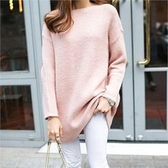 PIPPIN - Boat-Neck Long Knit Top