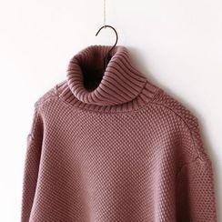 布丁坊 - 纯色樽领毛衣