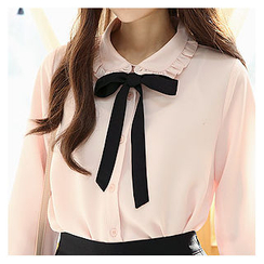 Sechuna - Frilled-Neck Blouse with Sash