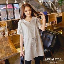 REDOPIN - Lace-Trim Drawstring-Waist Dress
