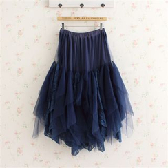 Blue Hat - Lace-Panel A-Line Skirt
