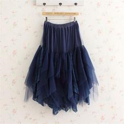 Blue Hat - 蕾絲拼接A字裙
