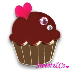 Sweet & Co. - Swarovski Crystal Gold Chocolate Cupcake Pin