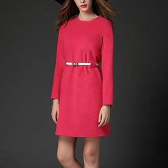 Mythmax - Long-Sleeve Plain Dress