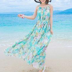 Isadora - Floral Print Spaghetti Strap Maxi Dress