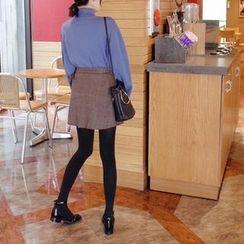 mimi&didi - Plaid Surplice-Wrap Mini Skirt