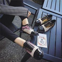 時尚麥樂 - 插色繫帶牛津鞋
