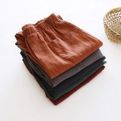 Bonbon - Band Waist Linen Straight-Cut Pants