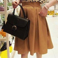 midnightCOCO - Elastic-Waist A-Line Midi Skirt