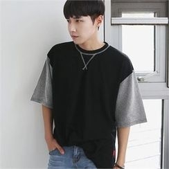 MITOSHOP - Stripe Elbow-Sleeve T-Shirt