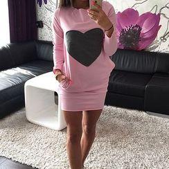 Flobo - Long-Sleeve Heart Print Dress