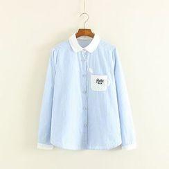Mushi - Coffee Cup Pocket Striped Shirt