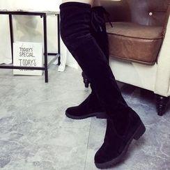 Wello - Block Heel Over-the-Knee Boots