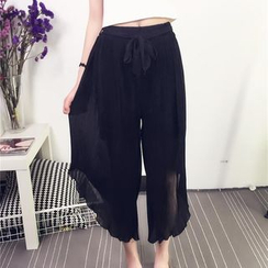 Octavia - Cropped Drawstring Wide Leg Pants