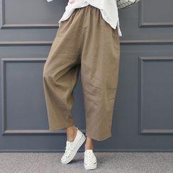 DANI LOVE - Baggy-Fit Linen Blend Wide-Leg Pants