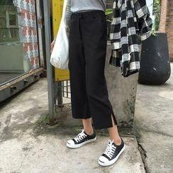 TriStyle - Slit Hem Cropped Pants