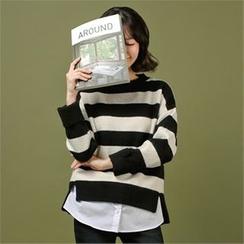 Styleberry - Cuffed-Sleeve Color-Block Sweater