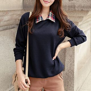 CLICK - Check-Collar Knit Top
