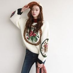 NIPONJJUYA - Drop-Shoulder Contrast-Trim Printed Sweater