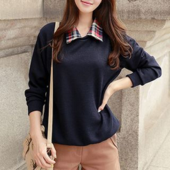 CLICK - Check-Collar Knit Top