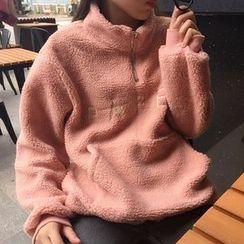 Dute - 字母半拉鏈絨質套衫