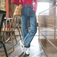 DABAGIRL - Cutout High-Waist Washed Straight-Cut Jeans