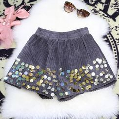 Clementine - Sequined Corduroy Shorts