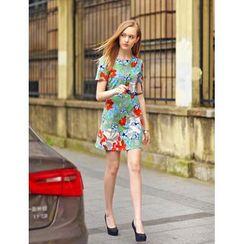 Ainvyi - Short Sleeves Floral Print Sheath Dress
