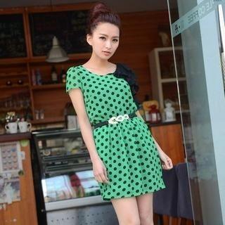 9mg - Short-Sleeve Polka-Dot Ruffled Dress