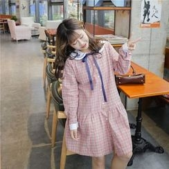 Whitney's Shop - Plaid Sailor Collar Embroidered Dress