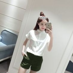Whitney's Shop - Set : Stand-collar Embroidered Short-Sleeve Blouse + Shorts