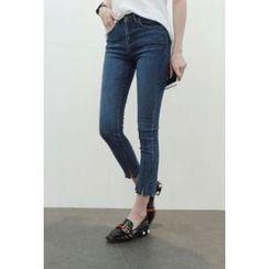 ATTYSTORY - Slit-Hem Washed Skinny Jeans