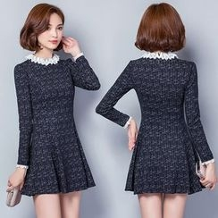 Lovebirds - Long-Sleeve Lace-Collar Dress
