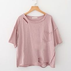 Meimei - Distressed Short Sleeve T-Shirt