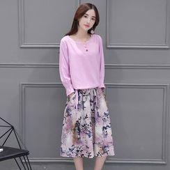 Sienne - Set: Plain Long Sleeve Top + Printed Midi Skirt